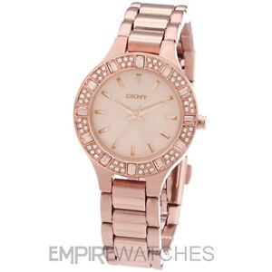 *NEW* DKNY LADIES SWAROVSKI CHAMBERS ROSE GOLD WATCH ...