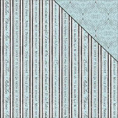lace 12 x 12 paper pack of 25 Wholesale FabScraps French stripe Blue