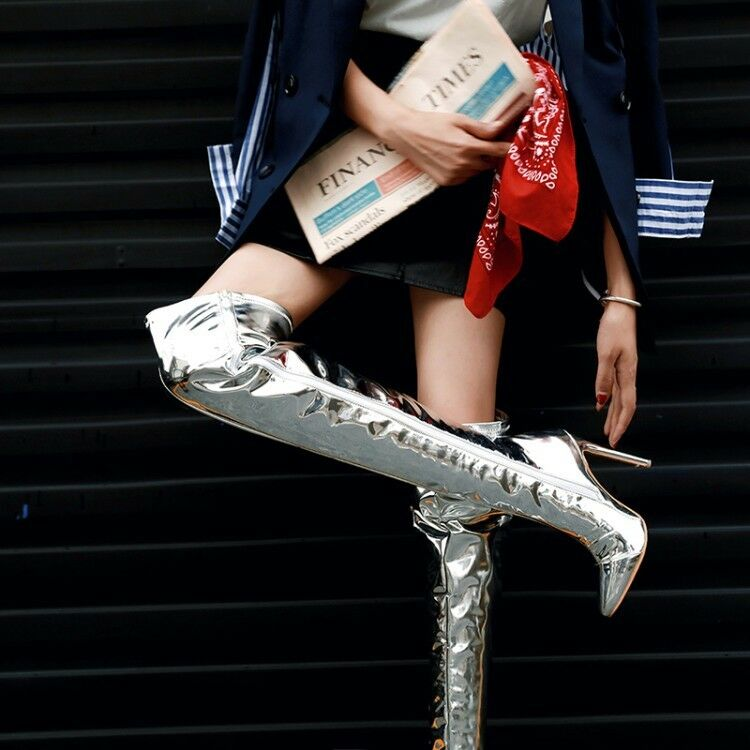 New Women Pointy Toe Over The Knee Boots Sliver Sexy Stilettos High heels shoes