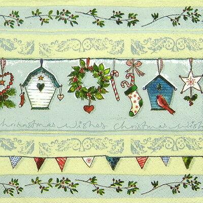 4x Paper Napkins for Decoupage Craft Vintage Festive Garland blue