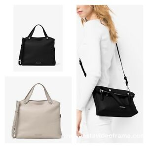 ec2a8e1775ca Image is loading MICHAEL-KORS-Medium-Hyland-Convertible-Satchel-Cement-and-
