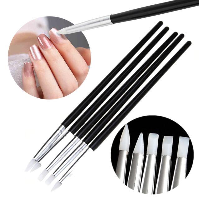 5Pcs Soft Silicone Nail Art Design Stamp Pen Pencil Brush UV Gel Carving Craft
