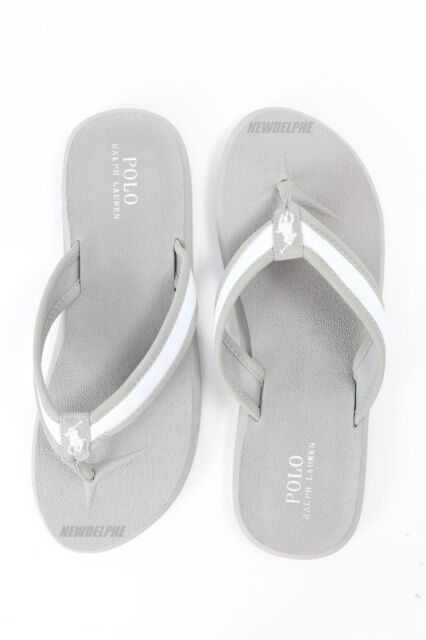 3d78b94da72c Mens Polo Ralph Lauren Gray White Soft Rubber Flip Flop Sandals Sz 8 ...