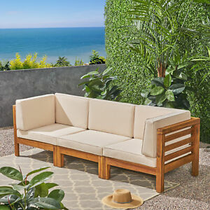 Details about Dawson Outdoor Sectional Sofa Set - 3-Seater - Acacia Wood -  Outdoor Cushions