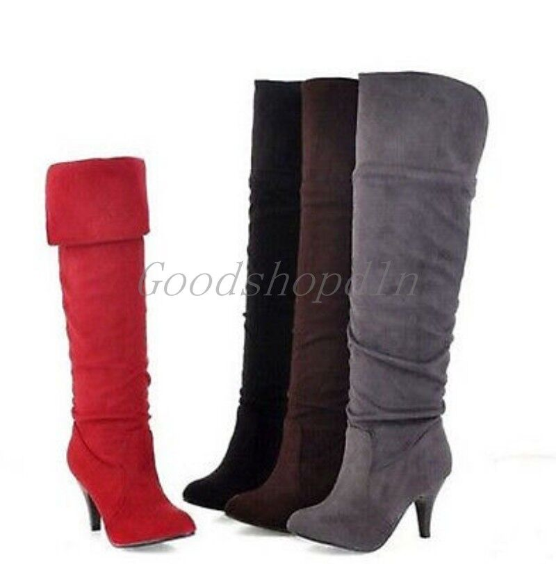 Sexy Ladies Stilettos Heels Women Faux Suede Pull On Knee High Boots J-e45