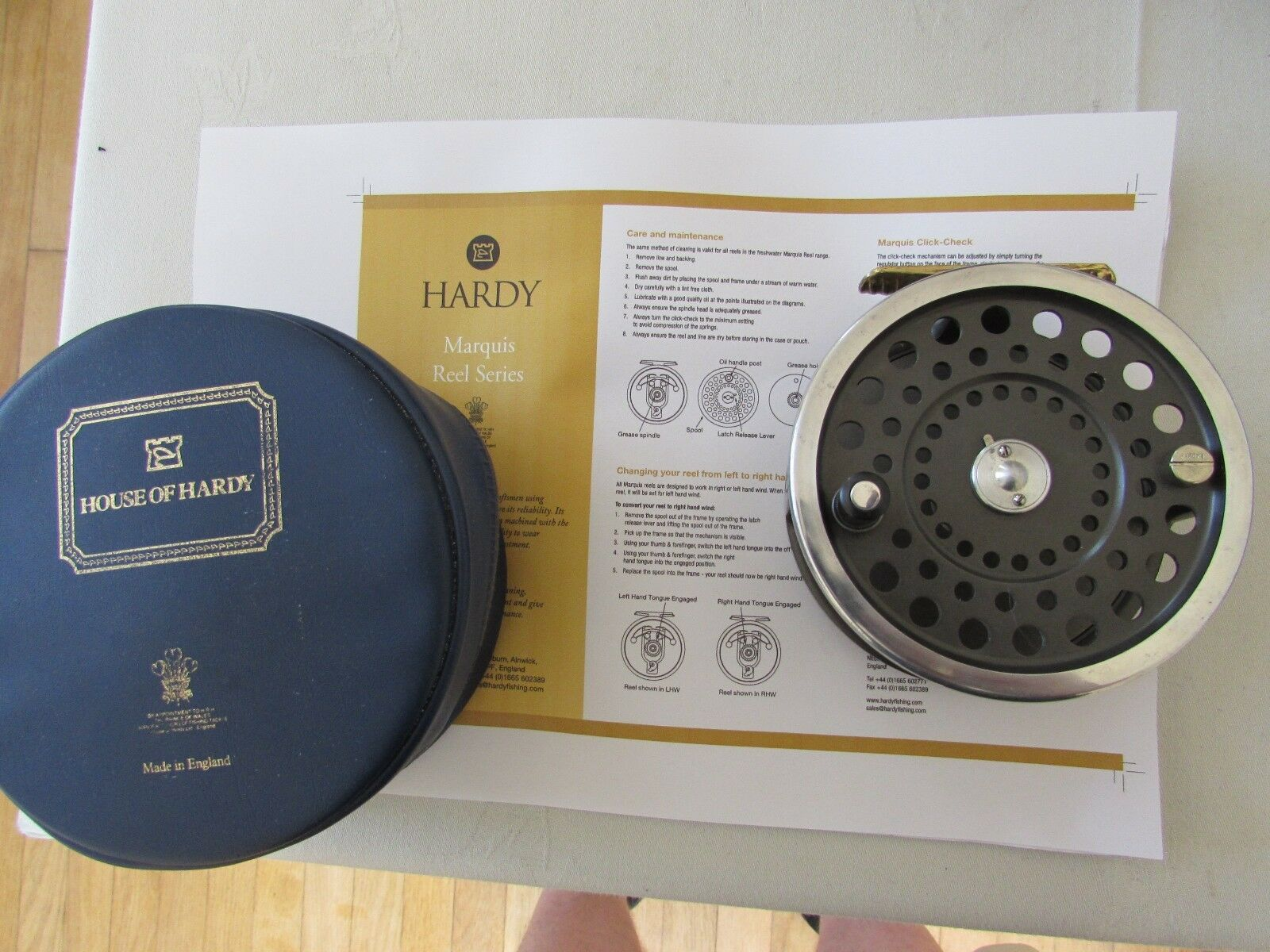 V good vintage hardy marquis no. 3 salmon fly fishing reel + case etc ..