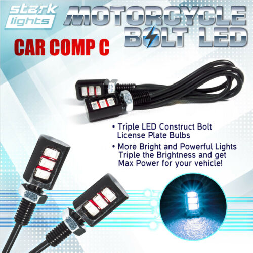 2x Motorcycle Screw 3-SMD LED Bolt Lamp Car License Plate Light ICE WHITE 8K B