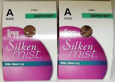 2 Dregg Silken Mist Trasparente Modellante Gambe Mutandine Collant Nylon Size A