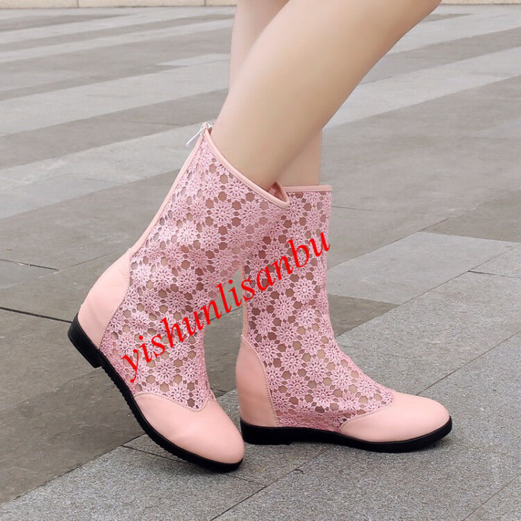2018 Womens Pull on Breathable Flower Lace Round Toe Hidden Wedge Zipper Boot Sz