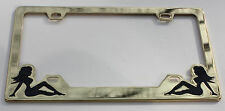 (1) GOLD LADY ACCENT LICENSE PLATE COVER - HEAVY METAL