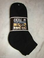 6 Pairs Excell Mens Black Low Cut Socks. 9-11. Fits 4 1/2 To 8. Free Shipping.
