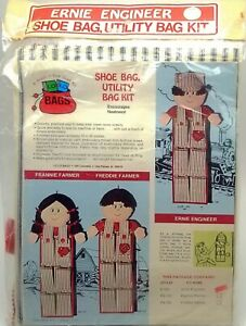 Kids-Shoe-Organizer-Bag-Craft-Kit-Ernie-Train-Engineer-New-Vintage-1975-E100