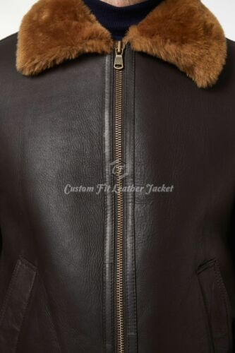 Men/'s B3 Brown Ginger fur Bomber Sheepskin Shearling 100/% Real Leather Jacket