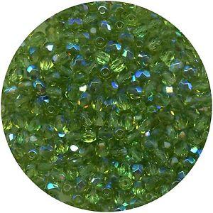 F4 Mox *** 80 Perles A Facettes Verre De BohÊme 4mm Medium Olivine Ab Brillant En Couleur