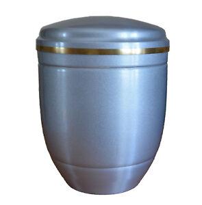 GRIGIO-ALLUMINIO-Urna-cremazione-per-ceneri-con-oro-a-nastro-FUNERALE-adulto