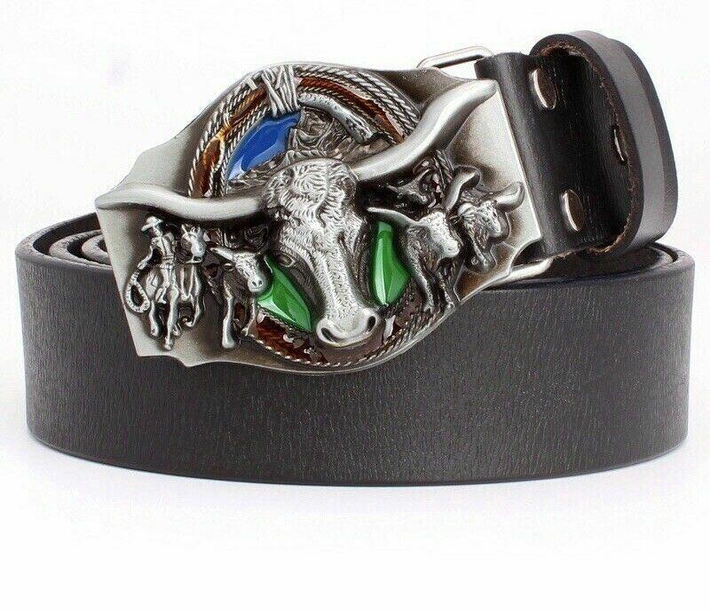 Mens Bull Skull Cowboy Western American Rock Fashion Leather Belt And Buckle