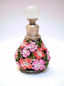 GLASS PEWTER ENAMEL CRYSTAL PERFUME FILAGREE LAVENDER/RED FLOWERS