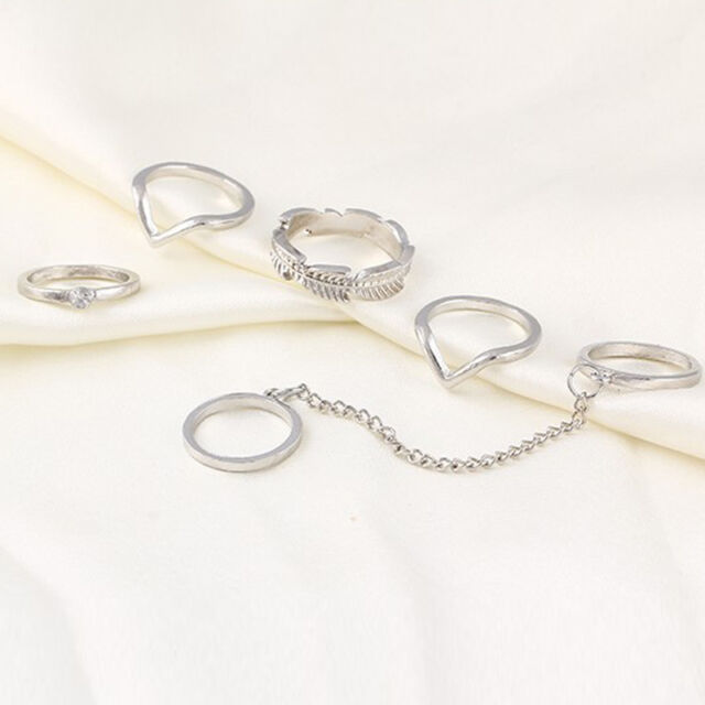 Gold/Silver Tone Stack Above Knuckle Cute Leaves Crystal Midi Band Rings Set