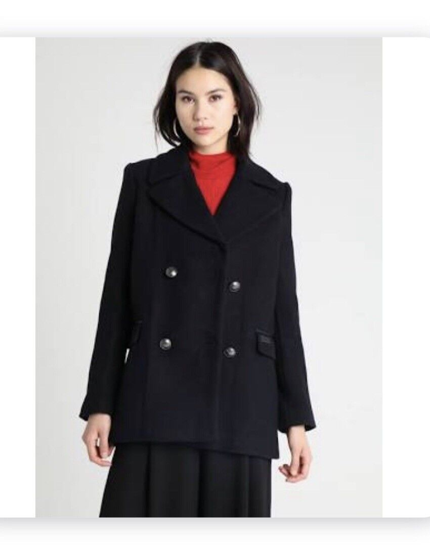 NEW SUPERDRY MILITARY PEA COAT RRP.99 SIZE SMALL 8-10 WOMENS blueE BNWT
