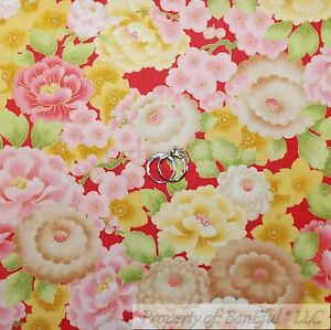 BonEful-Fabric-FQ-Cotton-Quilt-Pink-White-Yellow-Gold-Metallic-Green-Leaf-Flower