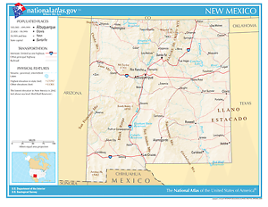 New Mexico State Reference Laminated Wall Map