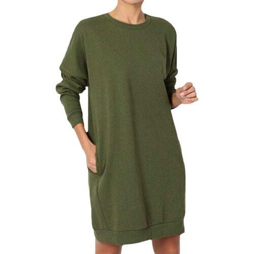 Elegant Ladies Casual Oversized Crew Neck Loose Pullover Tunic Dress Sweatshirts