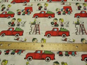 Details about White Peanuts Gang Christmas Red Truck Fabric by the Yard