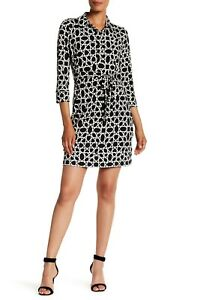 Donna-Morgan-Womens-Belted-Printed-Spread-Collar-Jersey-Shirt-Dress-Size-12-A22