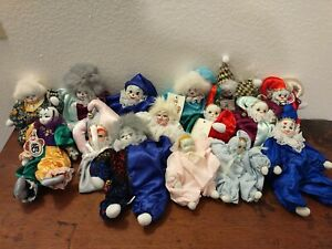 Vintage-Lot-of-15-Clown-Dolls-Porcelain-Head-Sand-Filled-Body-Jog-Hero-Lot-1