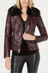 GUESS faux Fur Collar Quilted Faux Leather Jacket Brown XS 1 2 3