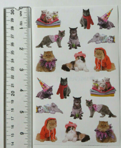 Mrs Grossman PAMPERED CATS Photoessence Sheet of Photo Quality Stickers