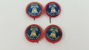 "Vintage WW1 Third Liberty Loan Pinback 7/8"" Pin Button Lot Of 4 American Art  H9"