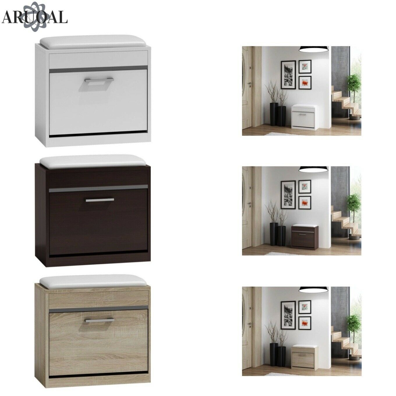ARUOAL (MILANO) shoes Cabinet, Storage Box with Seat Various Colours 60 x 53 x 30