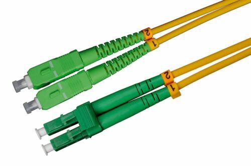 Lichtwellenleiter 1m LWL LC//APC-SC//APC Patchkabel Duplex OS2 3mm 9//125