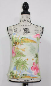 Jamaica-Bay-Women-039-s-Multi-Color-Hawaiian-Summer-Print-Spag-Strap-Tank-Size-PM