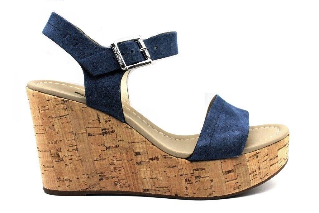 schwarz Giardini P908142D Blau Schuhe Sandalen Wedges Frau