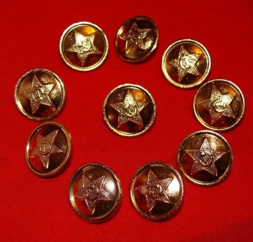 10x Soviet Army Navy Railroad Military Jacket Coat Buttons Gold Dark Green