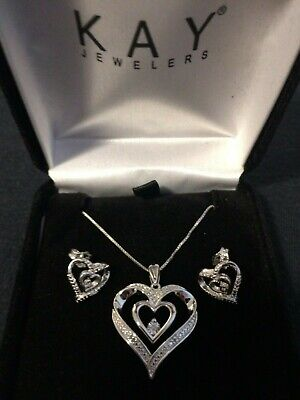 Kay Jewelers Valentines Day Combo Diamond Earrings And Necklace Fast Shipping Ebay