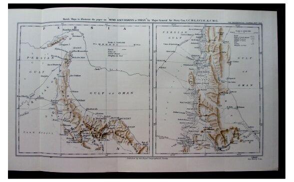 1925 Percy Cox - OMAN - Muscat - SHEIKHS - Jowasmi Pirates - COLOR MAP  Photos 9