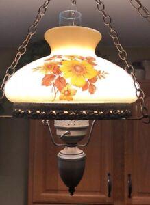 Vintage Hanging Swag Lamp Painted Shade