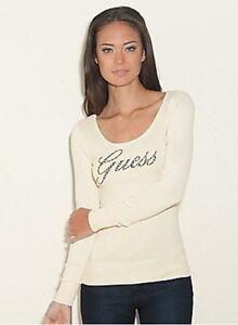 bianco Maglione aperto con Nwt Guess con 9 incantato Top logo L in strass 8 789447203570 maglia aperta xA7xFUqw