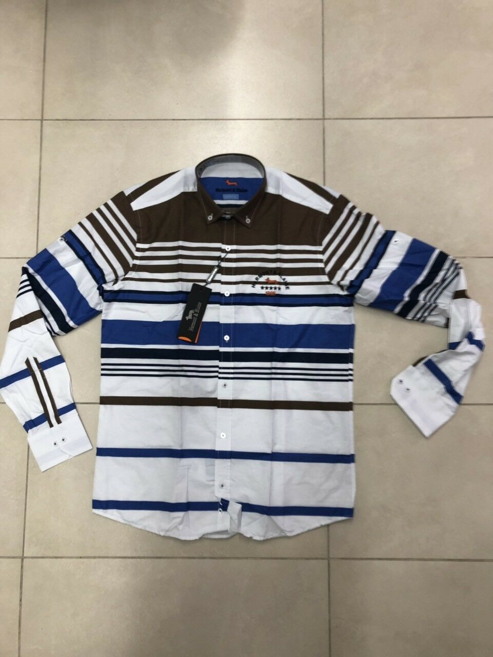 Harmont & Blaine Men Shirt Size M with bluee and brown strips color White