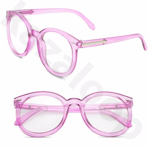 Unisex Large Frame Clear Round Lens Glasses Geek Nerd Fashion Arrow Temples