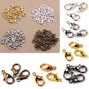 100PCS-10-12mm-Silver-Plated-Lobster-Clasps-Claw-Jewelry-Fastener-Hook-Finding