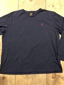 POLO-RALPH-LAUREN-Long-Sleeve-T-Shirt-Navy-Cotton-Tee-XXL-NWOT