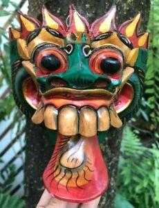 Handmade Art Craved Mask Wood Exotic Tongue Barong Tribal Loop Hang Wall Painted