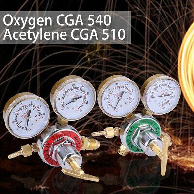 KLLsmDesign Dual Welding Gas Gauges CGA-540 Gauges Gas Welder Regulator CGA-510 2 PCS Regulators Combo Oxygen and Acetylene