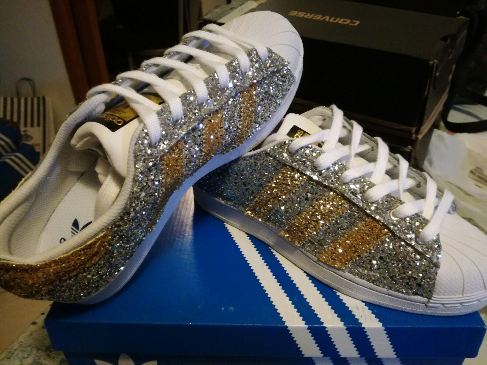 Scarpe Scarpe Scarpe adidas superstar con glitter argentoo e glitter oro 045434