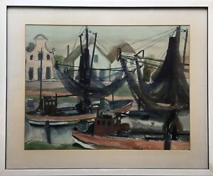 Karin-Witte-1939-Hamburg-Fishing-Boats-in-the-Harbour-Luck-City-24-3-8x29