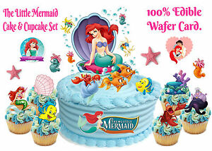 Edible LITTLE MERMAID Ariel Fish Crab WAFER SCENE Birthday ...
